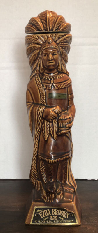 "Vintage 1968 Ezra Brooks Indian Chief Cigar Store Decanter 15.5""  Redskins"