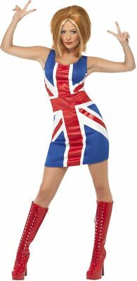 NEW Ginger Power, 1990s Icon Costume Spice Girls Ladies Fancy Dress Costume - Ginger Spice Halloween