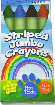 BOX OF 4 STRIPED JUMBO CRAYONS FOR YOUR HANDY DANDY - Box Of Crayons