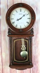 Seiko Quartz Pendulum Wall Clock Westminster Whittington Chimes Battery TESTED