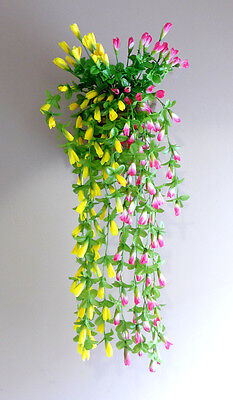 - 2 Colors Artificial Magnolia Bud Flower Vines Hanging  (Pink+ Yellow)