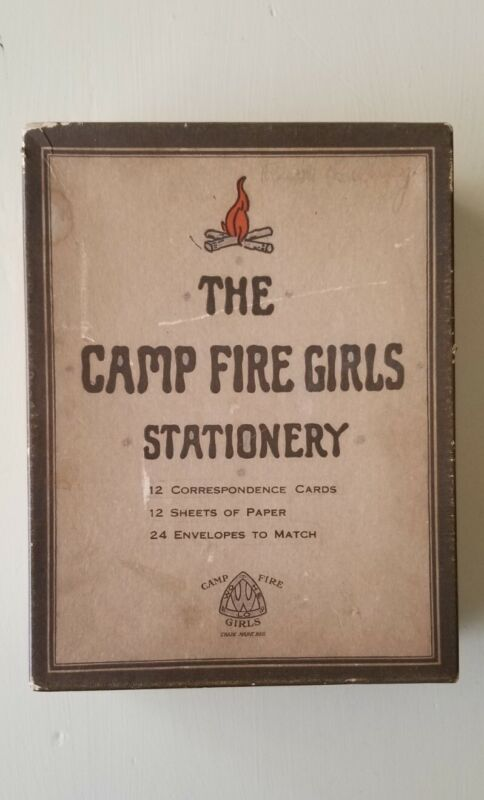 1920s Camp Fire Girls Stationery Box (Empty) and Track Meet Record Hampton, IL
