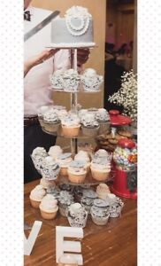 Wedding items- cake stands, black board sign & large back board