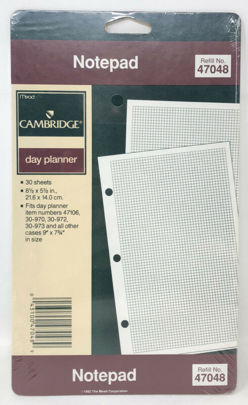 "1992 Mead Cambridge Day Planner Refill Graph Paper Notepad 3 Ring NOS 8.5""x5.5"""