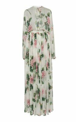 Dolce and Gabbana silk tropical rose printed maxi dress nwt 38 S