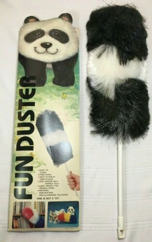 Vintage Fun Duster Polyester Dust Wand BLACK WHITE PANDA Non Allergenic 1980
