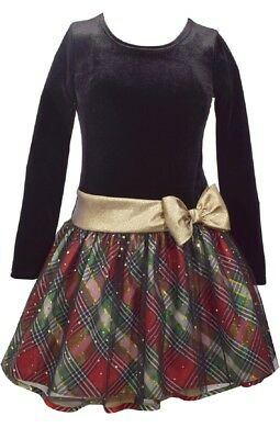 Bonnie Jean Girls Velvet Santa Christmas Holiday Bow Red Black Dress 4 - 20 1/2
