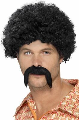 NEW 70's Black Disco Dirtbag Wig Kit, Afro & Tash Disco 80s Smiffys Accessories  (70s Halloween Accessories)