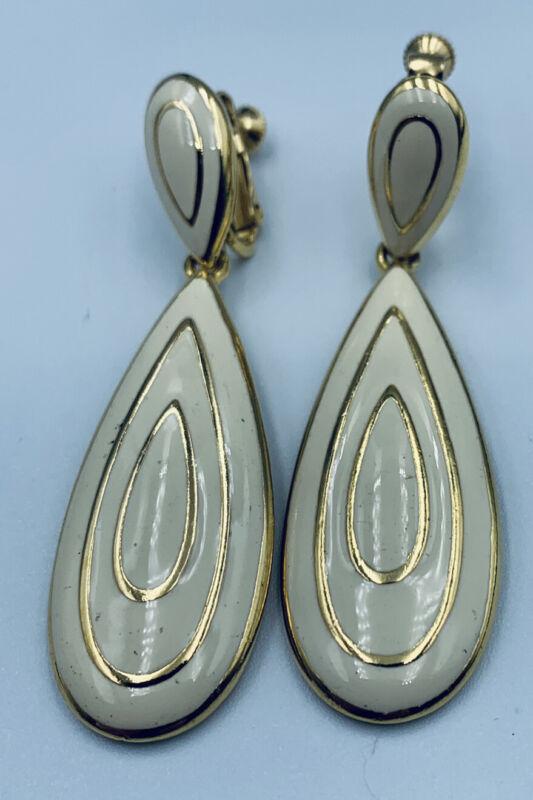 "Napier White & Gold Tone Dangle Screw Back Clip On Vintage 2.5"" Earrings"