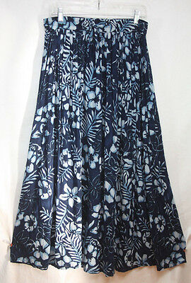 Lotus Indigo Blue Floral Skirt OS Mid-Calf Long 100% Rayon Full M L