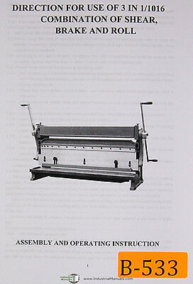 Birmingham Import 3 In 1016 Combination Of Shear Brake And Roll Manual