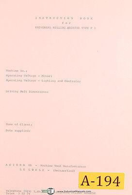 Aciera Type F1 Universal Milling Machine Instructions Manual