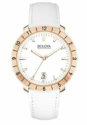 Bulova Men's Accutron II Moonview Quartz Rose Gold Tone Case 42mm Watch 97B128