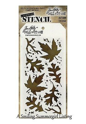 Autumn Design - Autumn Leaves Design Layering Stencil  Stampers Anonymous Tim Holtz Collection