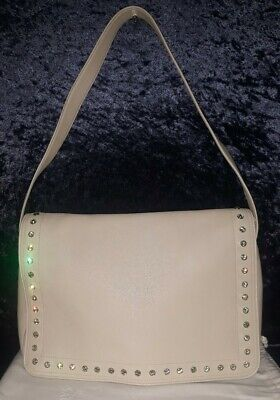 Gianni Versace Cream Leather Purse w Peridot Crystals & Dust Bag