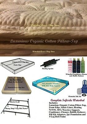 Queen SOFTSIDE WATERBED with Organic Cotton Pillow Top Mattress and 90% Waveless