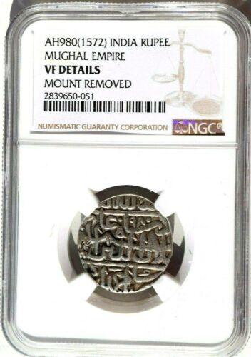 AH980 1572 India Mughal Empire Rupee, NGC VF Details