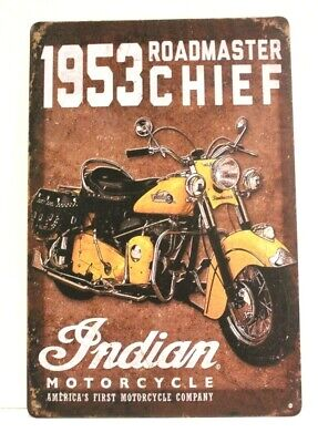 New Indian Motorcycles Sign Rustic Vintage Ad Style 1953 Roadmaster Chief Rustic