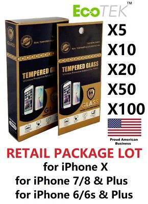Protector Mint (Wholesale Lot Retail Tempered Glass Protector for Apple iPhone Xs MAX 6 7 8)