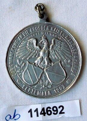 alte Aluminium Medaille Kaisermanöver Parade Zeithain 1903 (114692)