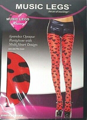 Music Legs Womens One Size Fits Red Spandex Pantyhose With Multi Heart - Pantyhose With Designs