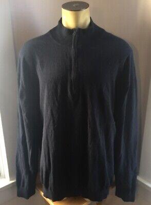 Nautica Mens 4XLT 1/4 Zip Pullover Sweater Navy Blue