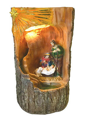 Holy Family w. Light and Water Fountain Holy Family Ornament Statue Religious ()