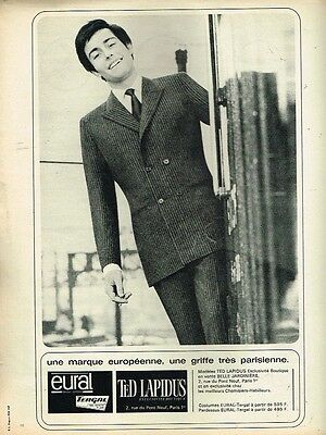 G- publicité advertising 1965 le costume pour homme ted lapidus eura