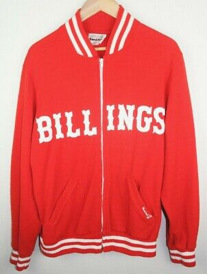 VTG 70s 80s Medalist Sand Knit Billings Mustangs Baseball Warmup Jacket Sz L Medalist Warm Up Jacket