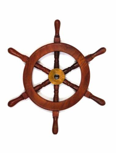 "12"" Ships Wheel Wood and Brass Nautical Theme Maritime Pirate Captain Decor"