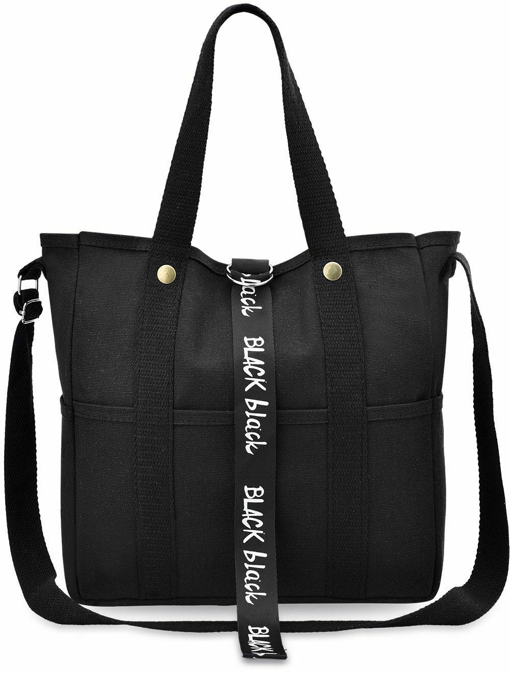 2154bfe71a923 große Leinentasche Damentasche Shopper Bag City Handtasche - Schwarz