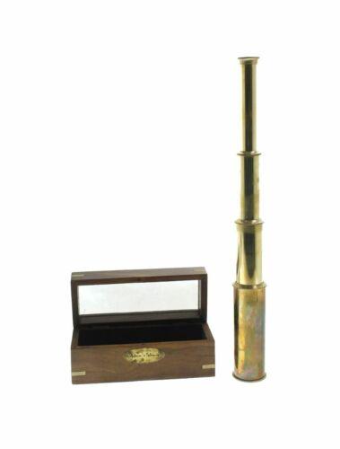 "Pirate Spyglass Polished Brass 15"" w/ Wooden Case Nautical Telescope"
