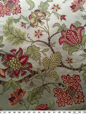 Contemporary Floral Fabric - Drapery Upholstery Fabric Contemporary Floral Damask - Sage / Berry