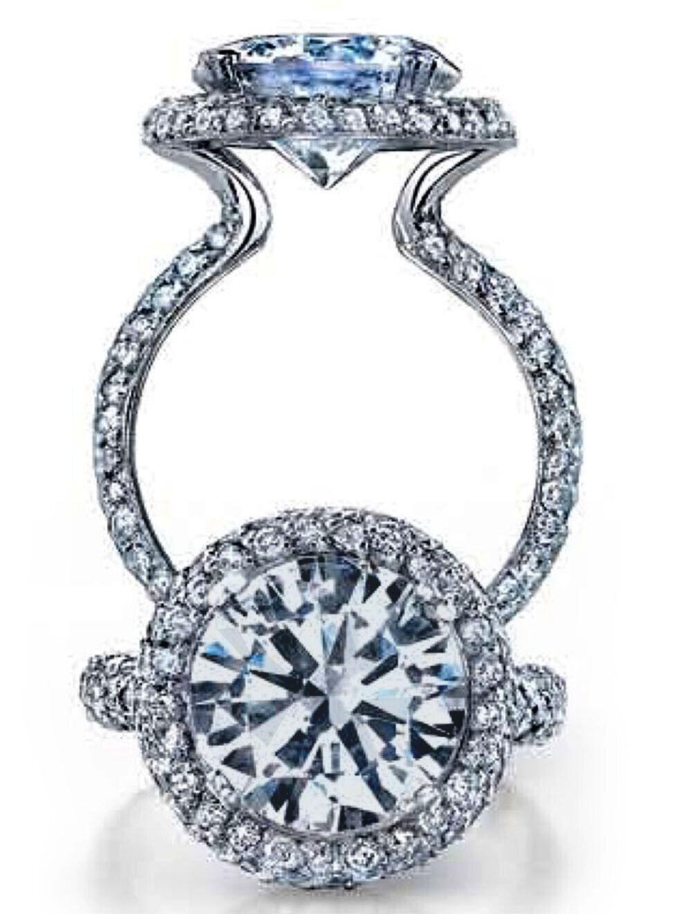 Unique Halo Design 1.60 TCW Round Cut Eternity Diamond Engagement Ring - GIA