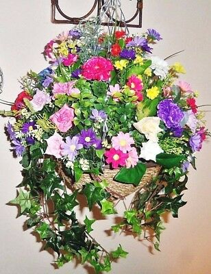 Artificial Hanging Basket Silk Flower HANDMADE TO ORDER IN/OUTDOOR 1855 SOLD!!!