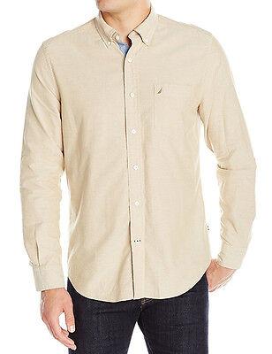 Nautica Mens Khaki Long Sleeve Button Down Shirt M