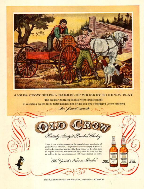 1950s vintage AD OLD CROW Bourbon Whiskey ART Unloading whiskey barrel 102115