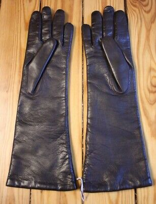 Dark Brown Italian Leather Gloves (NWOT Bloomingdale's 6.5 S Dark Brown Butter Soft Long Italian Leather Gloves )
