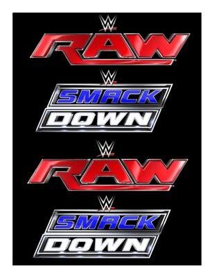 A4 WRESTLING WWE SMACK DOWN RAW LOGOS EDIBLE FONDANT WAFER CAKE TOPPER