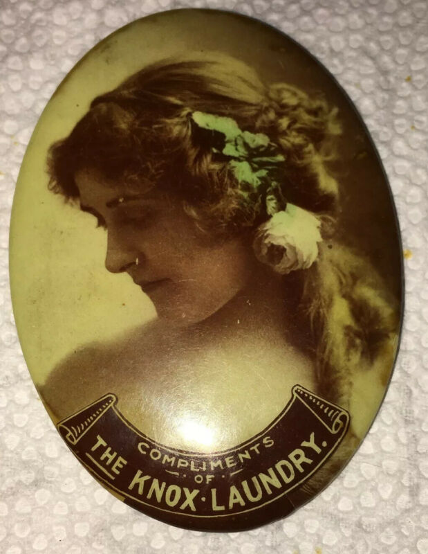 Compliments Of Knox Laundry Advertising Celluloid Pocket Mirror Lady