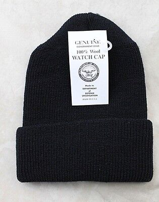 GENUINE US ARMY MILITARY ISSUE WATCH CAP WOOL BLACK - USA MADE