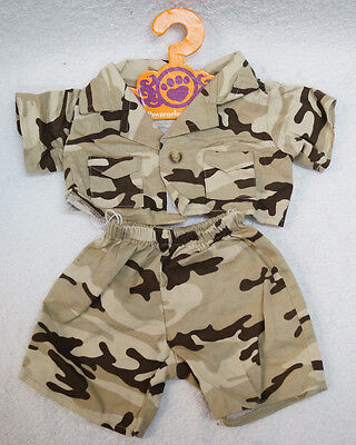 PAWSENCLAWS & Co Teddy MILITARY ARMY OUTFIT Shirt Pant Set fits Build a Bear etc