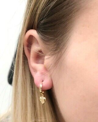 14K Solid Yellow Gold Heart Shape Huggie Earrings without stones