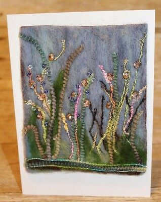 Needle felt Abstract Flowers Blank Greeting Card 30 Swarovski crystals Philbrook