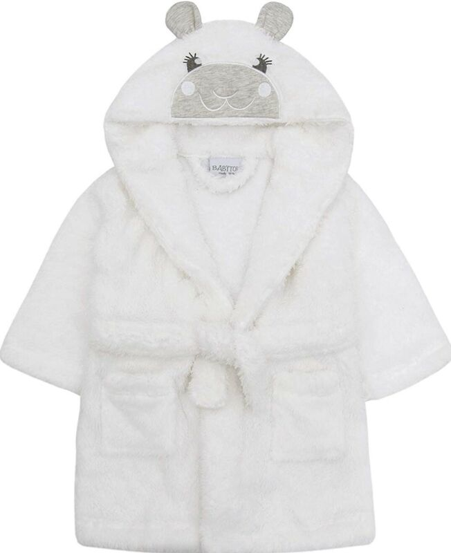 Babytown Baby Hooded Flannel Fleece Gown White Lamb Sz. 18-24 Months NEW