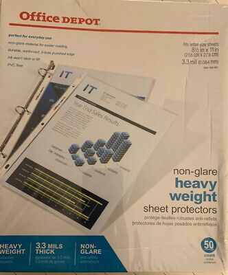 New - 50 Office Depot Clear Heavy Weight Sheet Protectors
