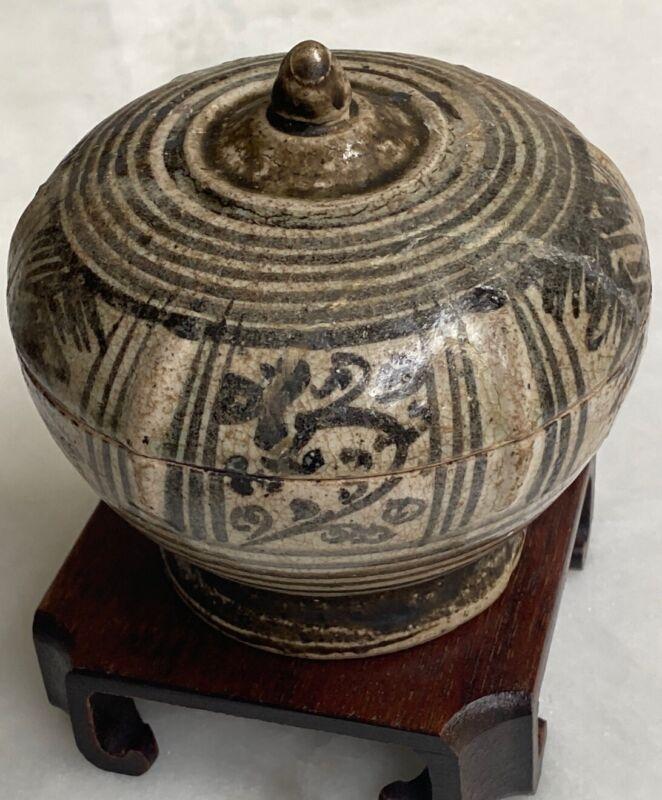 Antique Stoneware Ceramic SAWANKHALOK Lidded Powder Box 15th Century Thai