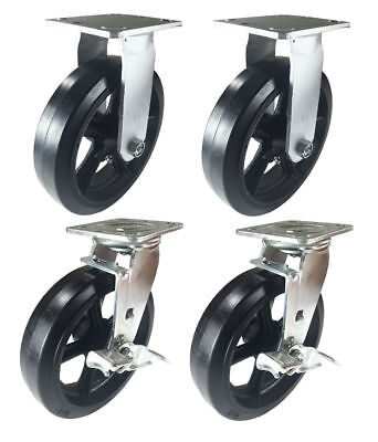 4 Heavy Duty Caster Set 8 Rubber On Cast Iron Wheels Rigid Swivel And Brake