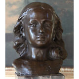 Baby Shower Gift Young Girl Daughter Portrait Bust Bronze Marble Statue Figurine