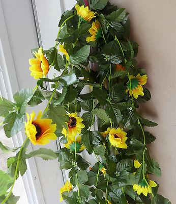(Set of 4 Artificial Sun Flower Vines Garland Kids Room Decoration )
